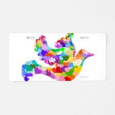 Rainbow Dove of Hearts Aluminum License Plate