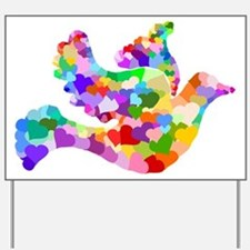 Rainbow Dove of Hearts Yard Sign