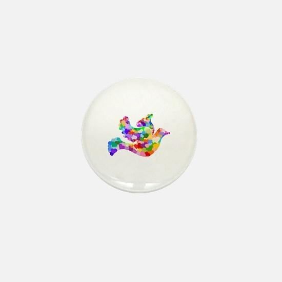 Rainbow Dove of Hearts Mini Button