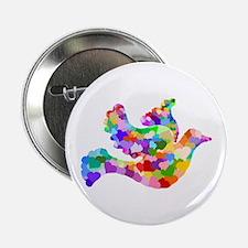 "Rainbow Dove of Hearts 2.25"" Button"