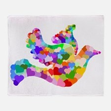 Rainbow Dove of Hearts Throw Blanket
