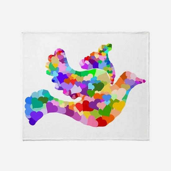 Rainbow Dove of Hearts Throw Blanket