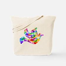 Rainbow Dove of Hearts Tote Bag