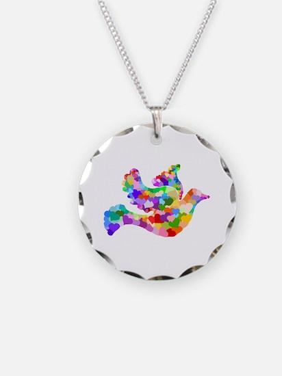 Rainbow Dove of Hearts Necklace