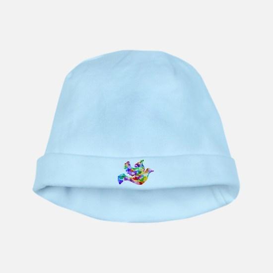 Rainbow Dove of Hearts baby hat