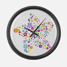 White Star Flower Large Wall Clock