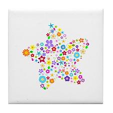 White Star Flower Tile Coaster