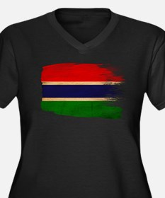 Gambia Flag Women's Plus Size V-Neck Dark T-Shirt