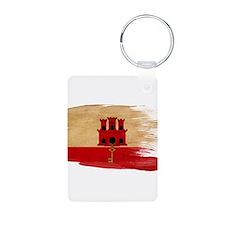 Gibraltar Flag Aluminum Photo Keychain