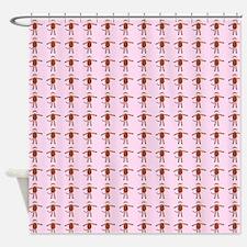 Pink Sock Monkey Shower Curtain