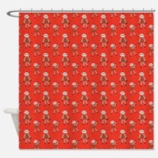 Red Sock Monkey Shower Curtain