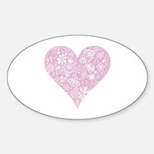 Pink Decorative Heart Sticker (Oval)
