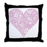 Pink Decorative Heart Throw Pillow