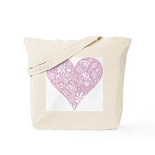 Pink Decorative Heart Tote Bag