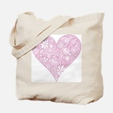 Pink Decorative Heart Tote Bag