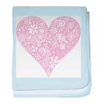Pink Decorative Heart baby blanket