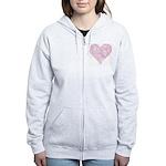 Pink Decorative Heart Women's Zip Hoodie