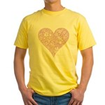 Pink Decorative Heart Yellow T-Shirt