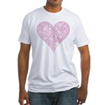 Pink Decorative Heart Fitted T-Shirt