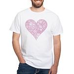 Pink Decorative Heart White T-Shirt
