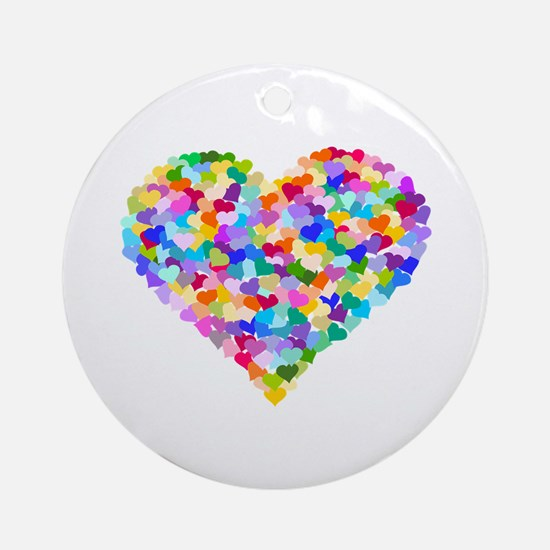 Rainbow Heart of Hearts Ornament (Round)