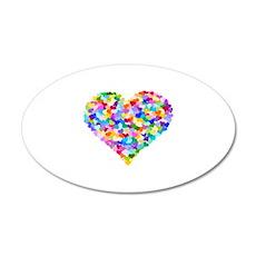 Rainbow Heart of Hearts 22x14 Oval Wall Peel