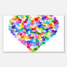 Rainbow Heart of Hearts Sticker (Rectangle)