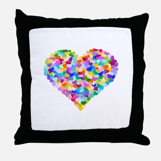 Rainbow Heart of Hearts Throw Pillow