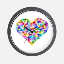 Rainbow Heart of Hearts Wall Clock