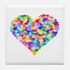 Rainbow Heart of Hearts Tile Coaster