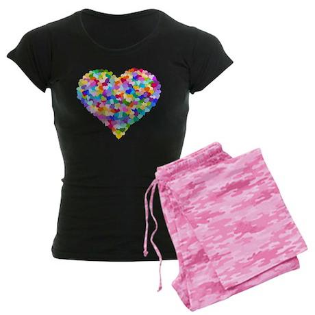 Rainbow Heart of Hearts Women's Dark Pajamas
