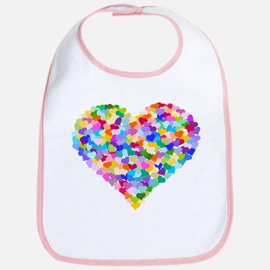 Rainbow Heart of Hearts Bib