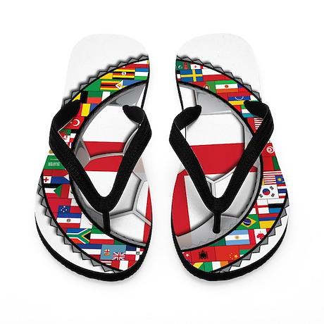 England Flag World Cup Footba Flip Flops