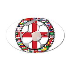 England Flag World Cup Footba 22x14 Oval Wall Peel