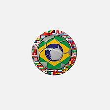 Brazil Flag World Cup Footbal Mini Button