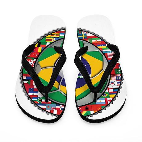 Brazil Flag World Cup Footbal Flip Flops