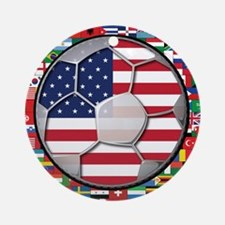 United States Flag World Cup Ornament (Round)