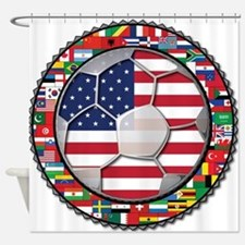 United States Flag World Cup Shower Curtain