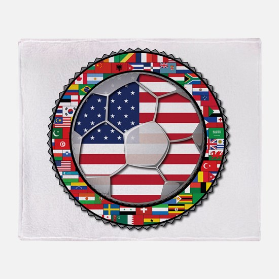 United States Flag World Cup Throw Blanket
