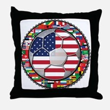 United States Flag World Cup Throw Pillow