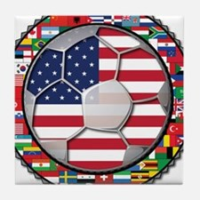 United States Flag World Cup Tile Coaster