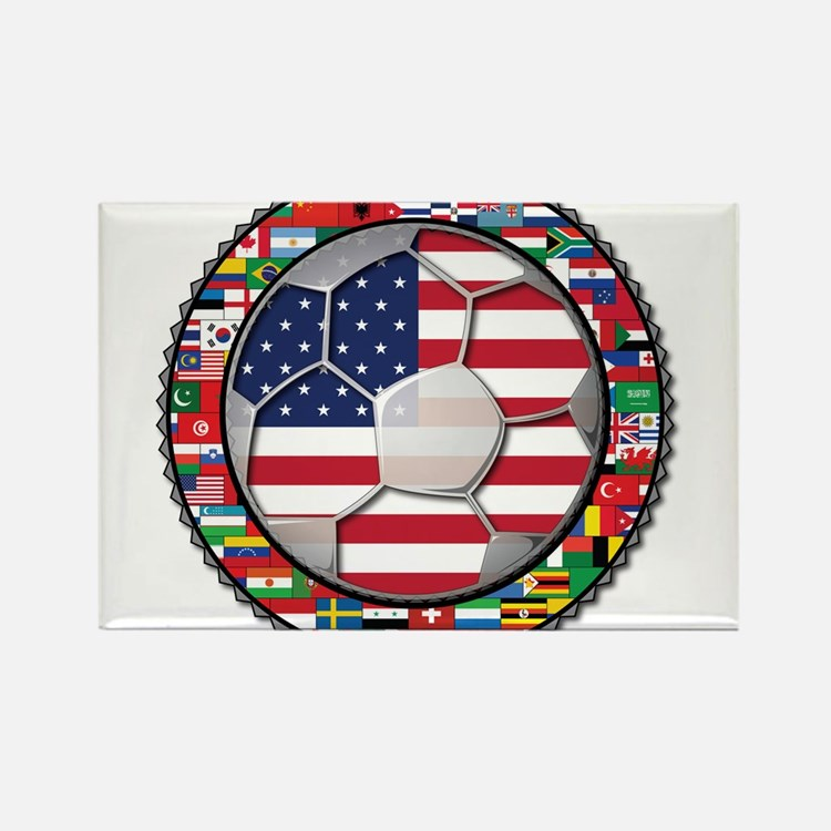 United States Flag World Cup Rectangle Magnet