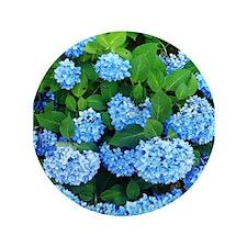 """Blue Hydrangeas ~ 3.5"""" Button"""