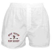 Give Blood Play Hockey Boxer Shorts