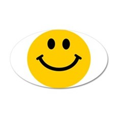 Yellow Smiley Face 22x14 Oval Wall Peel