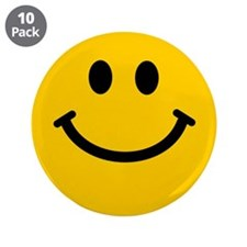 """Yellow Smiley Face 3.5"""" Button (10 pack)"""