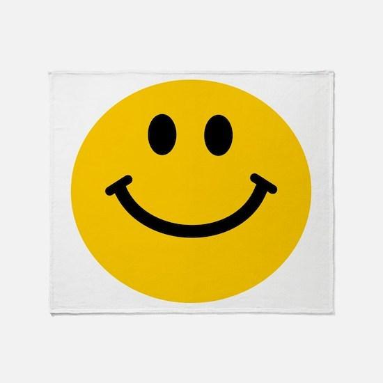 Yellow Smiley Face Throw Blanket