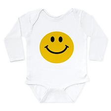 Yellow Smiley Face Long Sleeve Infant Bodysuit