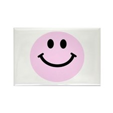 Pink Smiley Face Rectangle Magnet