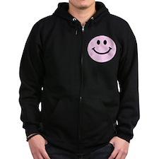 Pink Smiley Face Zip Hoody
